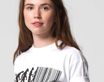 Regression of Man: Evolution Barcode Political T-shirt by ALLRIOT