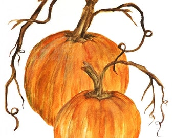 "Pumpkin Original Watercolor, Pumpkin Original Print,""Harvest Pumpkin #2"" Fall Watercolor"