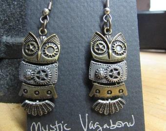 Steampunk Earrings, Steampunk, Steampunk jewelry, Gear earrings, Gear, Steampunk Owl earrings, Owls, Owl,  Owl earrings, Owl jewelry