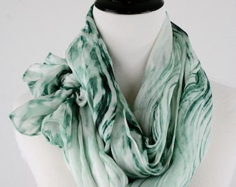 1980s Green Silk Screened Large Oblong Scarf