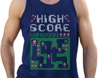 High Score Santa Arcade Video Game Men's Tank Top Singlet