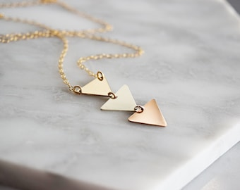 Triple Triangle Necklace in Mixed Metals, Arrow Necklace in 14k gold fill, sterling silver, and rose gold, Pennant necklace, Pendant