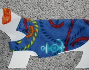 "Reversible Fleece Dog Coat—Anchors Aweigh—Mini Dachshund Doxie Chiweenie (xs, long 8-11 lb) *girth 17.5"""