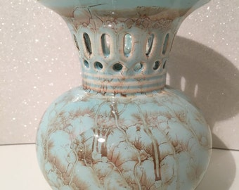 Handpainted Vase Turquoise/Gold Made in Holland