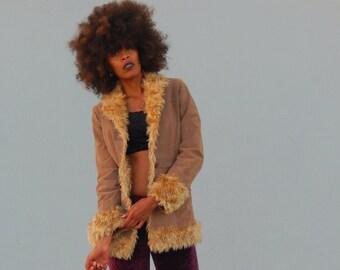 90's M.U.D.D. Jeans Camel Brown Genuine Leather Trimmed Faux Fur Jaguar Coat