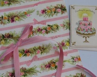 Vintage Gift Wrap Set - Paper, Ribbon & Card ~ Happy Birthday ~ Hallmark ~ Flowers and Ribbon