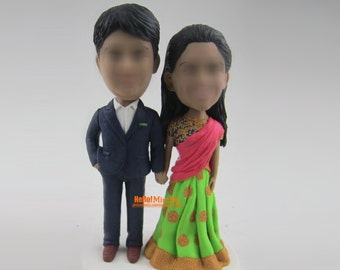 Indian wedding cake topper wedding topper Bobblehead custom cake toppers custom wedding cake topper bobble head wedding topper- CT E305