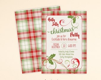 Holly Jolly Christmas Invite, Christmas Party Invitation, Holiday Open House, Christmas Open House, Holiday Party, C13006