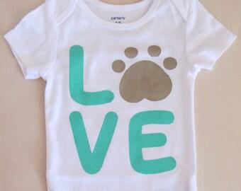 Love My Dog, Pawprint Dog Bodysuit, Baby Dog Bodysuit