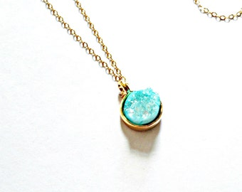Druzy Necklace / Turquoise Blue Druzy on Delicate 14 Kt Gold Filled Chain / Gemstone Necklace