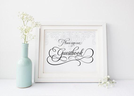 "Antique Gate Guestbook Sign 5x7"" DIY Wedding Poster Printable"