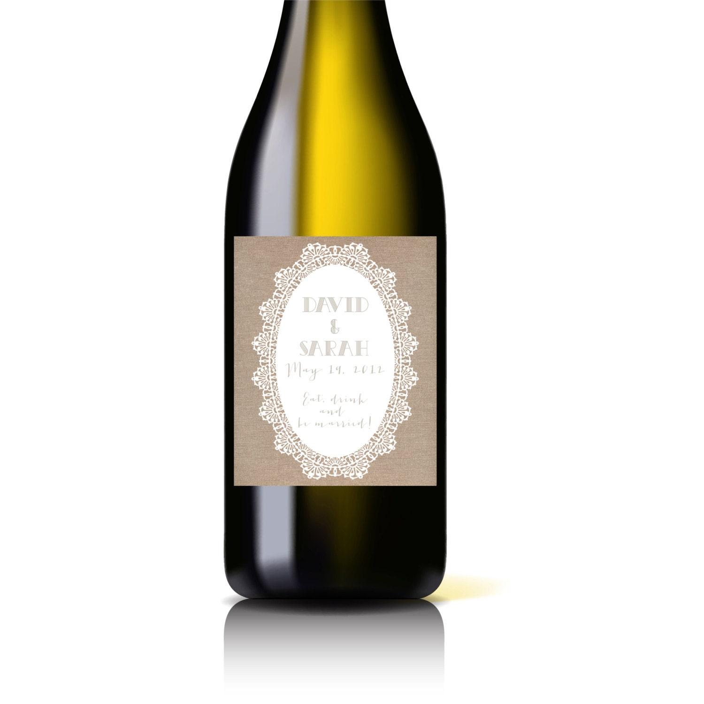 Printable Wine Bottle Labels: Custom Printable Wedding Wine Bottle Label Burlap Lace