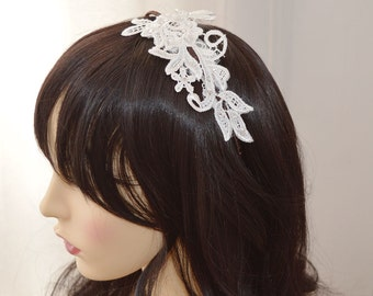 Headband with embellished guipure lace, off white, cream or brown headband