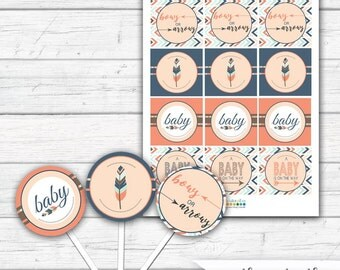 Tribal Gender Reveal, Cupcake Toppers, Printable, Bows and Arrows, Gender Reveal, Boho, Baby Shower, Tribal Shower, Instant Download