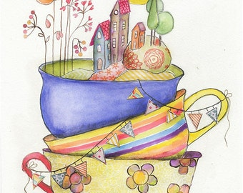 World In A Teacup - Art PRINT