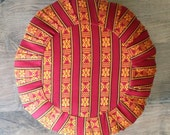 Zafu Style Meditation/Floor  Cushion - Bhutanese Fabric - Pouf - Ottoman