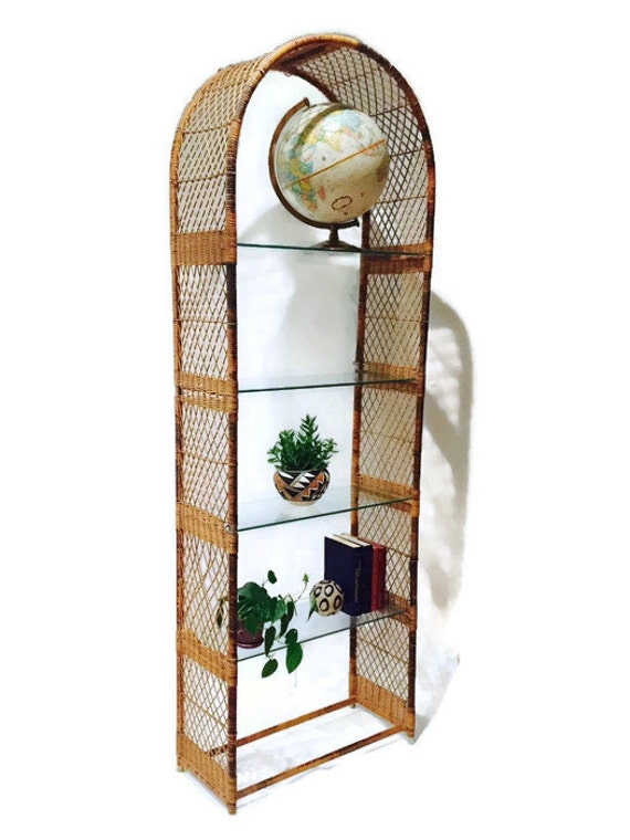Vintage Rattan Bookcase Wicker Amp Glass Etagere Tall Bohemian