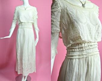 "1910's Antique Vintage Edwardian White Cotton and Lace Tea Dress Titanic Era 32"" Waist Large"