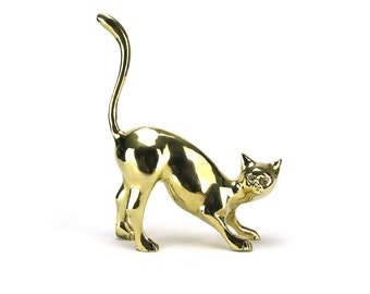 LARGE Vintage Brass Cat Figurine - Gold Kitty Kat Kitten Door Stop Statue - Baby Nursery Decor Hollywood Regency Mid Century Cat Lover Gifts