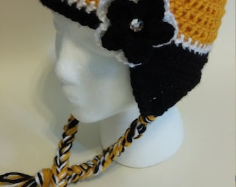 Steelers inspired hat with flower and earflaps
