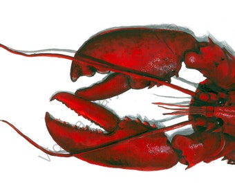 Acrylic & Ink Pen LOBSTER Print A4 By VMS (From Original Artwork)