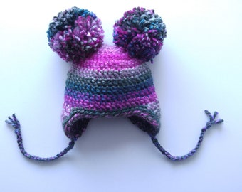 Crochet Baby Hat with Ear Flaps...