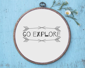 Go Explore Wall Art - Inspirational / Hoop Art / Nursery Decor/ Nursery Print / Childrens Print / Home  Decor.
