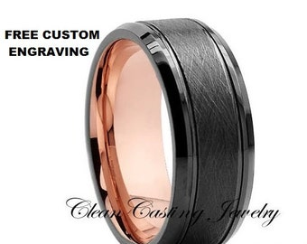 18k Rose Gold Tungsten Wedding Band,Rose Gold Tungsten Wedding Ring,Olivit Tungsten Wedding Band,Comfort Fit,Engagement Band,Unique
