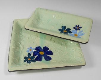 Vanity tray set - flowered tray set - blue green serving dish set - desk organizer - bath organizer T004