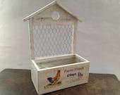 Vintage white egg storage box Wooden egg holder Egg stand rack Wood egg house Easter decor Cottage kitchen