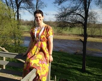 Soviet Vintage dress Short sleeve summer dress Yellow floral dress Floral Dress Size-M/L USSR era fashion 60-70s