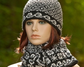 Hand Knitted fair isle set: double hat with pom pom and tube scarf, jacquard set, black, white, woolen set, winter set, jacquard hat scarf.