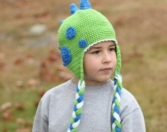 Dinoaur Hat/ Crocheted Dinosaur hat/ Dino Hat/ Crocheted hat/ Boys winter hat/ Boys hat/ Winter Hat/ Crocheted hat/ Dinosaur/