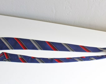 SALE 25% OFF: 1930's Necktie with Red, White and Silver Stripes