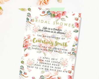 Country garden themed bridal shower invitation. Bridal Shower Invitation Printable. Floral Bridal Shower.  Digital File. Hens night