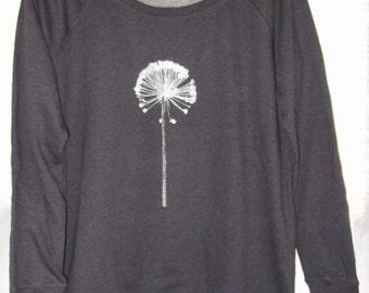 Silver Alium print Dark heather grey Womens organic cotton printed sweatshirt