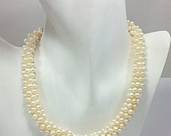 Cream Of White Pearl Necklace, Unique Hand Crochet, Glam Statement Bridal Wedding Choker, New Years Eve, Bridal Wedding Jewelry by FestiJe