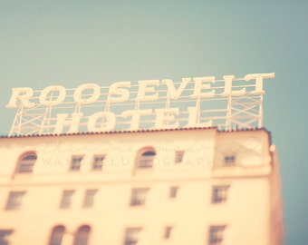 The Roosevelt Hotel Photography, Hollywood Boulevard Print, Los Angeles Photograph,  California Home Decor, Bohemian Wall Hanging, Large Art