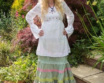 Rosebud and white cotton ladies tunic Gypsy Boho Alternative Festival Shabby Chic Bohemian Upcycled
