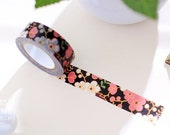 """Sakura Cherry Blossom on Black Washi Tape - 5/8"""" x 11 yd (15 mm x 10 m) - paper tape by Miss Time"""