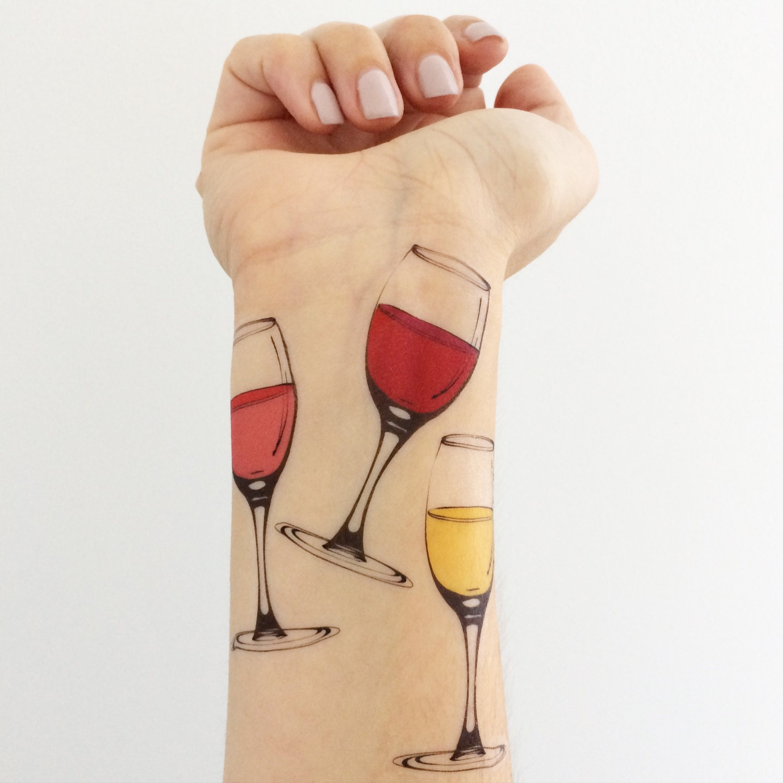 3 wine glass temporary tattoos. Black Bedroom Furniture Sets. Home Design Ideas