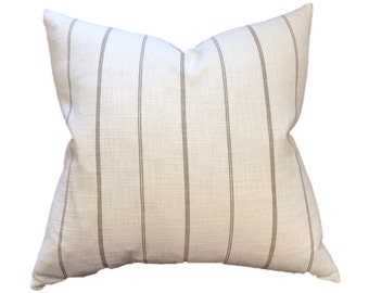 Cream and Taupe Ticking Stripe Linen Designer Pillow Cover- Accent Pillow- Throw Pillow- Linen Pillow