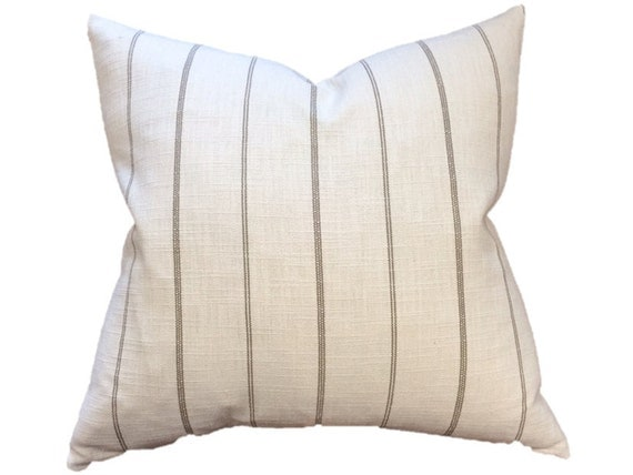 Cream and Taupe Ticking Stripe Linen Designer Pillow Cover
