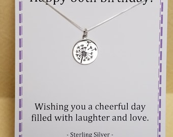 60th Birthday Gift Sixty Wishes Sterling Silver Dandelion Necklace