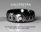Doctor Who Inspired Gallifreyan Design 8MM Tungsten CZ Ring High Polish With Black Brushed Center Domed Ring