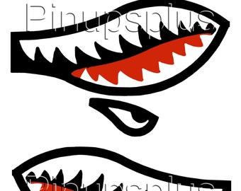 Warhawk War Hawk Flying Tigers Shark's Teeth Waterslide Decal Mirrored pair WWII Nose Art Bomber Art Fighter Jet Bite No. 323