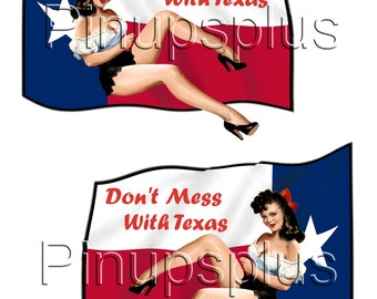 2 Sexy Pinup Girl Waterslide Decals Don't Mess with Texas Flag Texas Pride Hillbilly Daisy Dukes No. 322