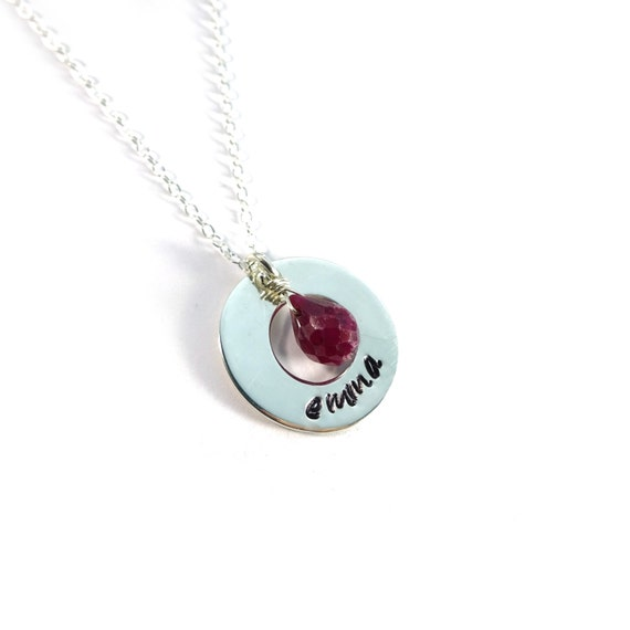Silver Circle Necklace, Silver Name Necklace, Birthstone Necklace, Silver Initial Necklace, Hand Stamped Necklace, Script Name, Stamped Name
