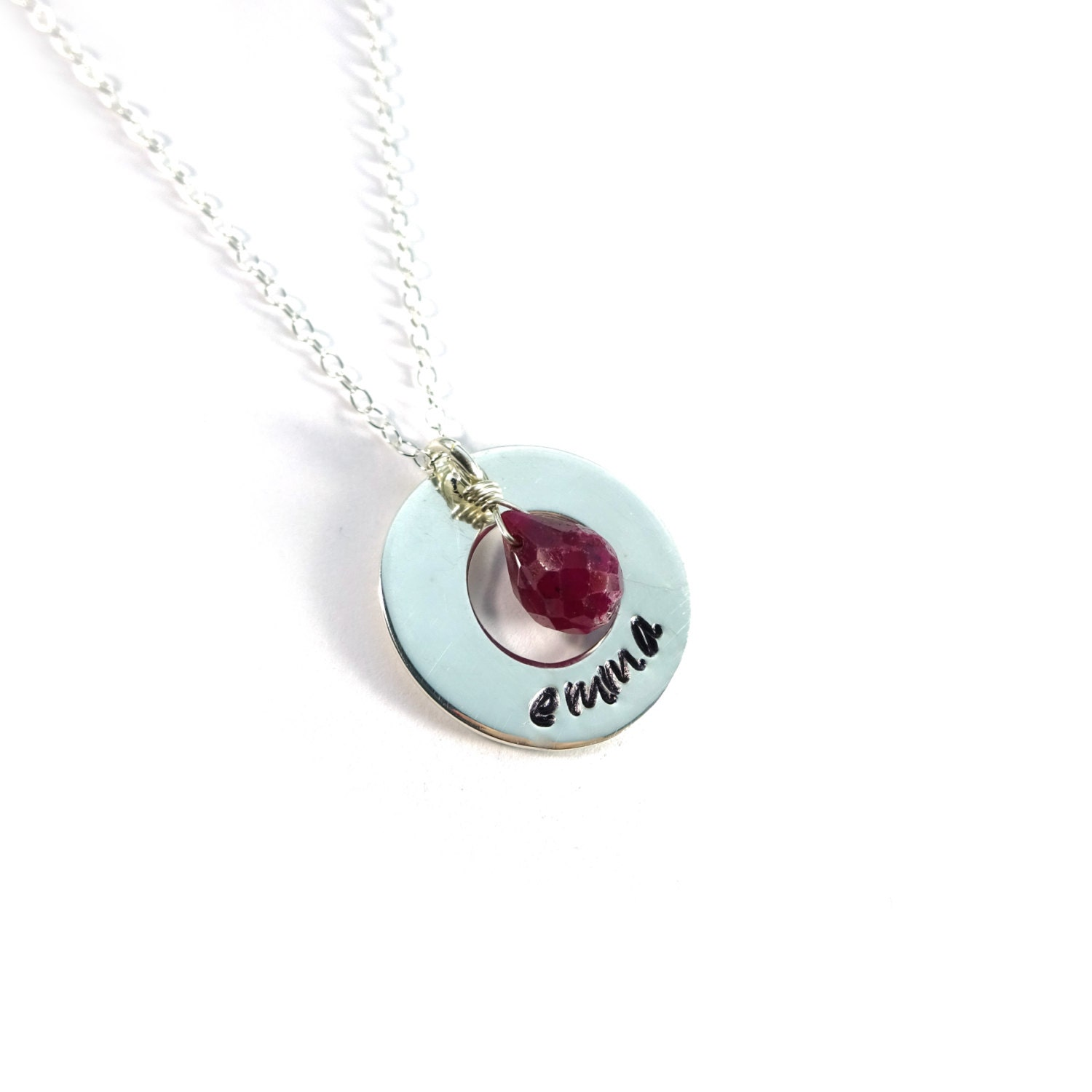 silver circle necklace silver name necklace birthstone