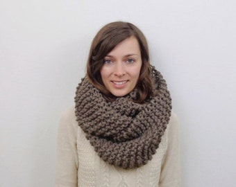 SALE Chunky Knit Infinity Scarf Oversized Scarf / The ARCTIC HARE / Taupe